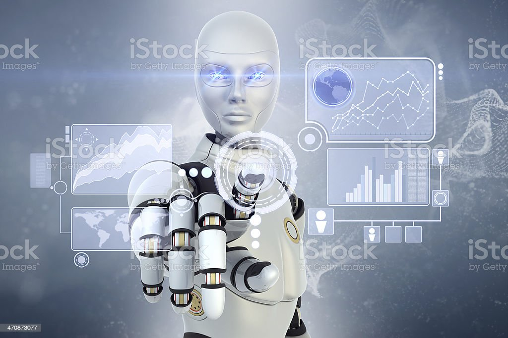 Robot is working with touchscreen stock photo