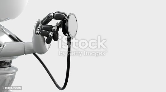 875483824 istock photo Robot isolated with stethoscope. 1168908855