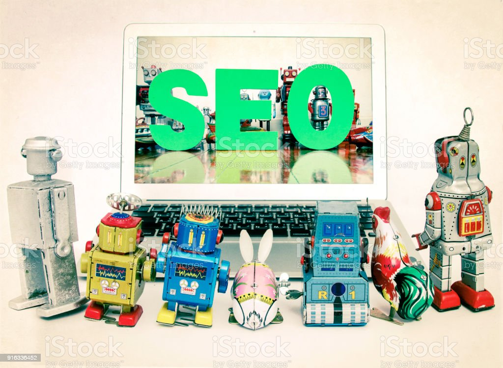 robot kids learn about SEO stock photo