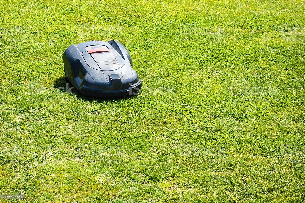 robot lawn mower stock photo