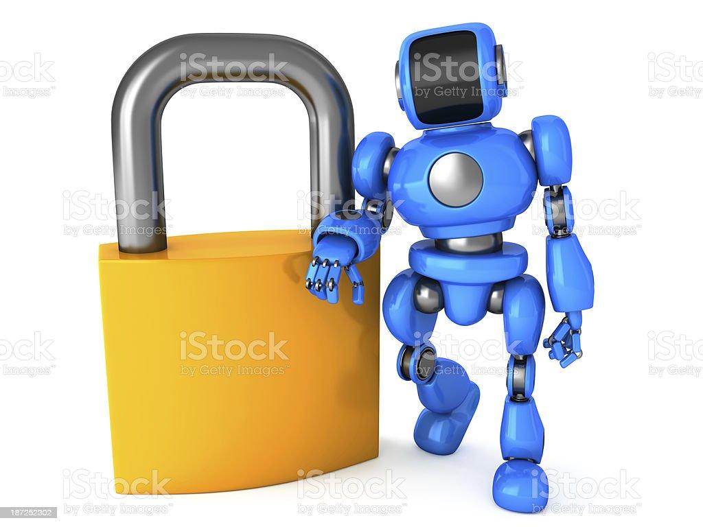 Robot lean on padlock royalty-free stock photo