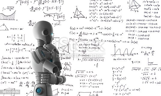 istock Robot learning or solving problems, artificial intelligence in futuristic technology concept, 3d illustration 951223680