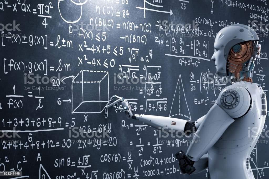 robot learning or solving problems stock photo
