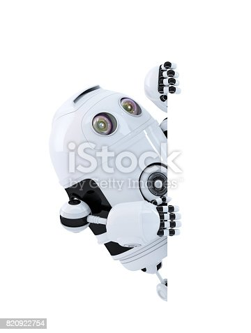 istock Robot looking at blank banner. Isolated. Contains clipping path 820922754