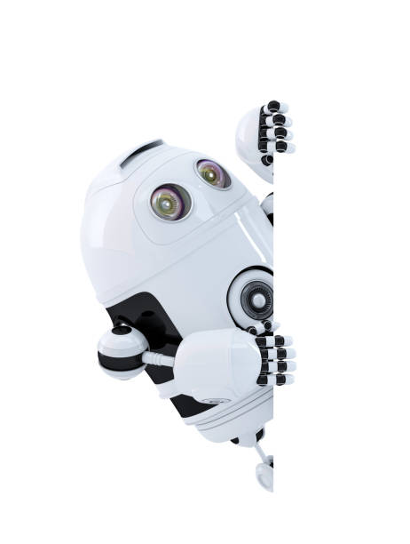 Robot looking at blank banner. Isolated. Contains clipping path stock photo