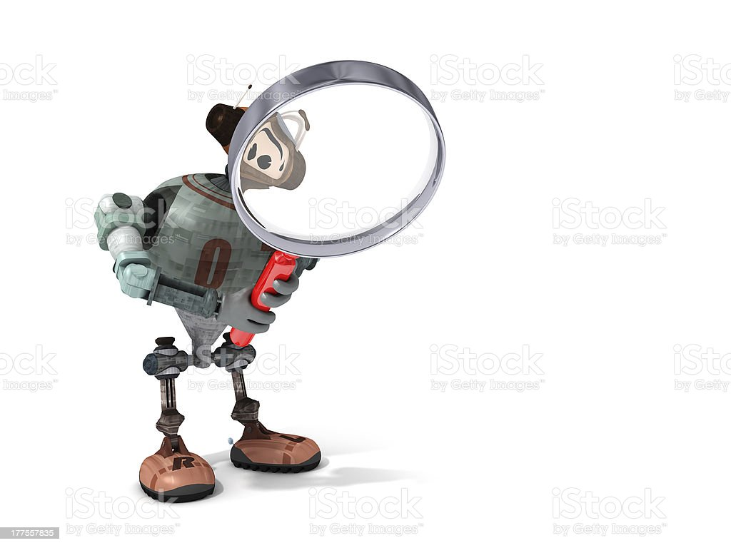 Robot Looking Through a Magnifying Glass stock photo