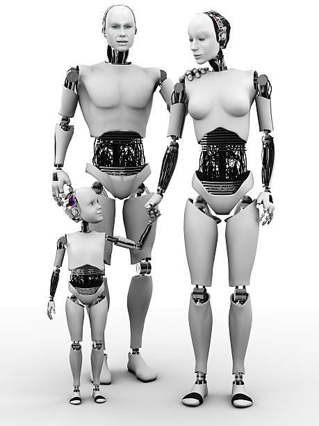 Roboter Mann, Frau und Kind. – Foto