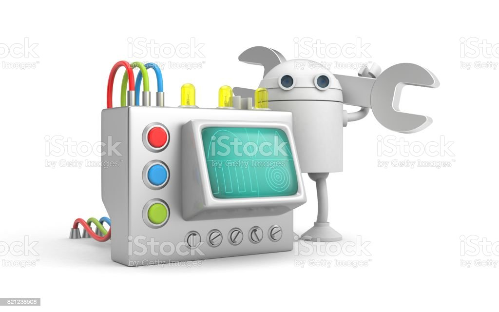Robot mechanic with device. 3d illustration stock photo