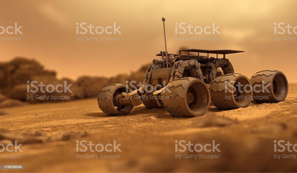 Robot of humans on Mars stock photo