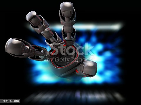 istock Robot  on a computer  AI research concept 862142450