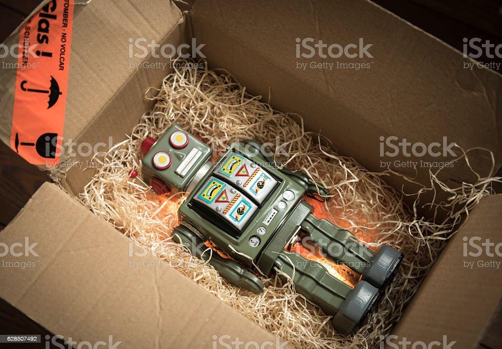 Robot Parcel stock photo