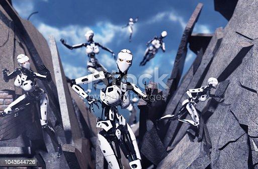 3d illustration of Robot battle,mixed media