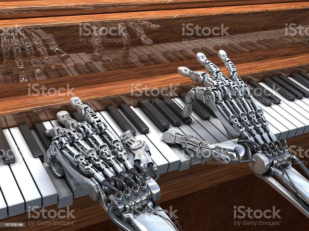 Robot playing on the piano stock photo