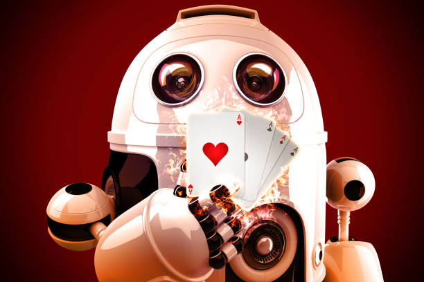 Robot playing poker. 3D illustration stock photo