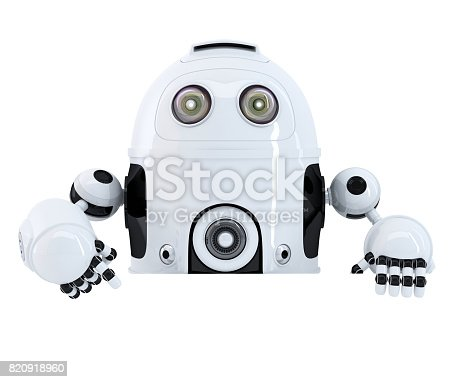 521048154 istock photo Robot pointing at blank banner. Isolated. Contains clipping path 820918960