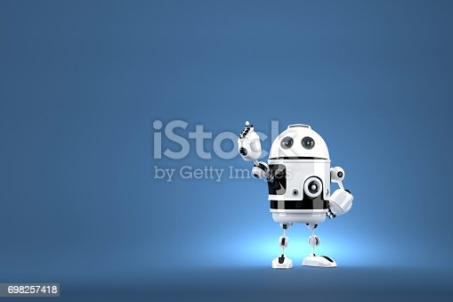 istock Robot pointing at invisible object. Contains clipping path 698257418