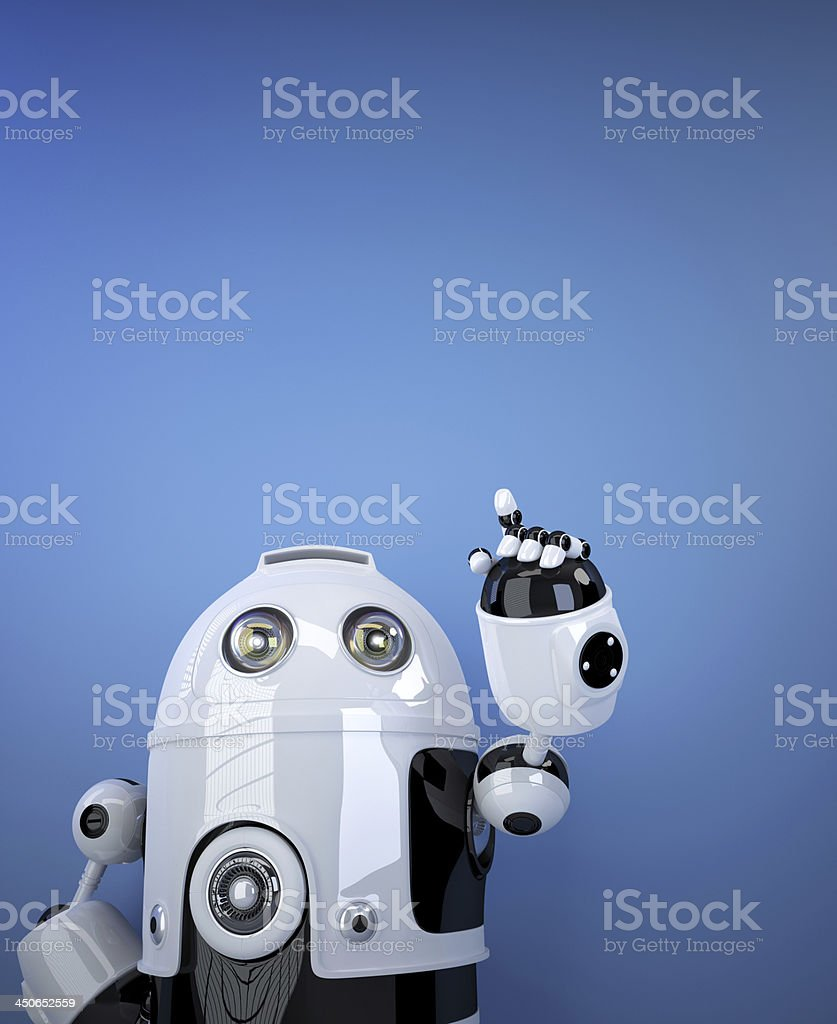 Robot pointing at invisible object. stock photo
