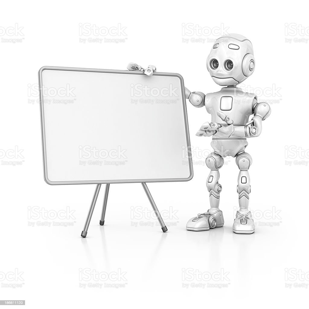 robot pointing whiteboard royalty-free stock photo