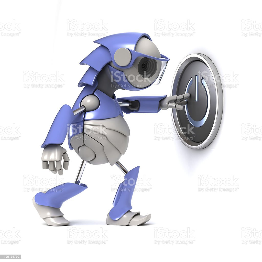 Robot push the button royalty-free stock photo