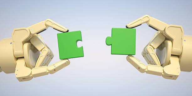 Roboter sind puzzle Stücke zusammen – Foto