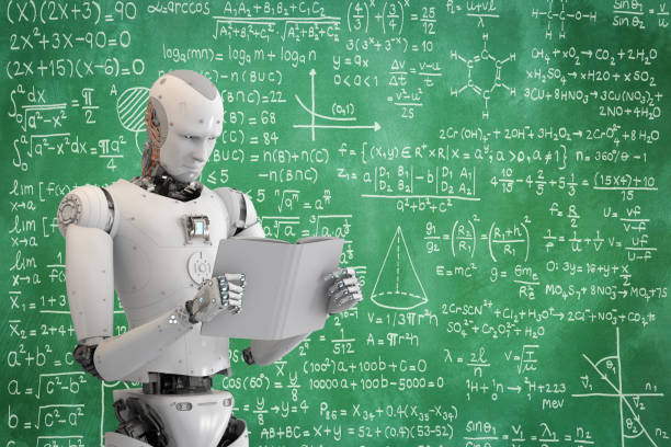 robot reading book stock photo