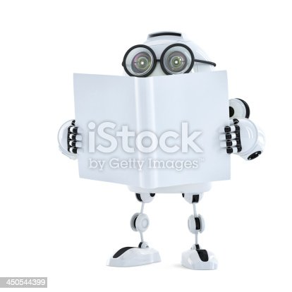 521048154 istock photo Robot reads a book. Technology concept 450544399