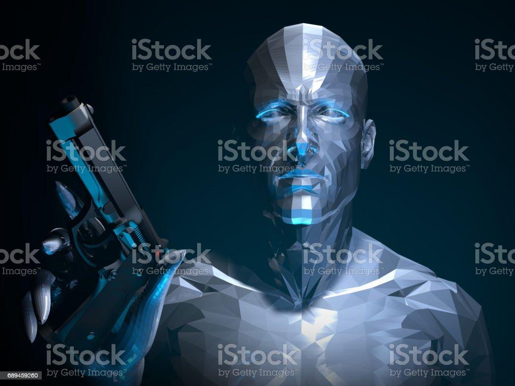 Robot Rebellion in The Dark stock photo