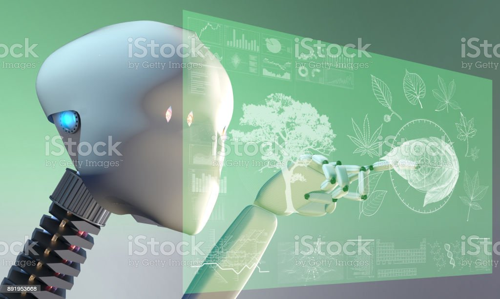 AI Robot researching nature on touch screen hud display stock photo