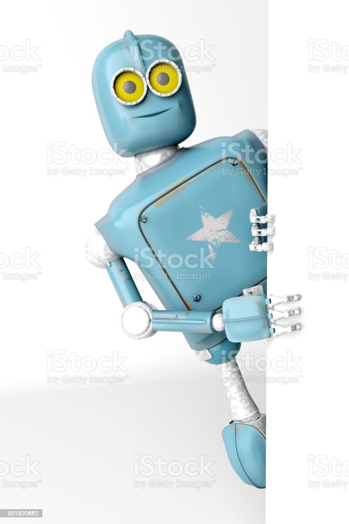Robot retro vitage peeks out from behind the walls banner. 3d Render. stock photo