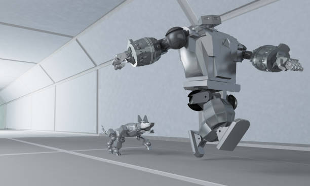 Robot runs away from the dog on the space corridor 3d rendering picture id931917614?b=1&k=6&m=931917614&s=612x612&w=0&h=flegpeokoahj9meypsxjbsvjvgtn8tawrvuwszfy ow=