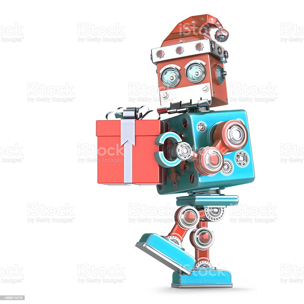 Robot Santa walking with gift. Isolated. Cnotains clipping path stock photo