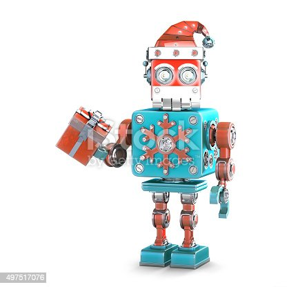 1067810314 istock photo Robot santa with gift box. Isolated. Contains clipping path 497517076