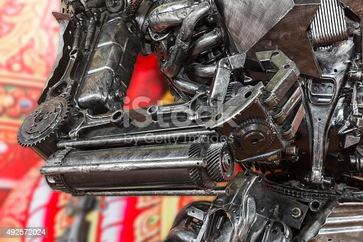 istock Robot sculpture made from scrap metal 492572024