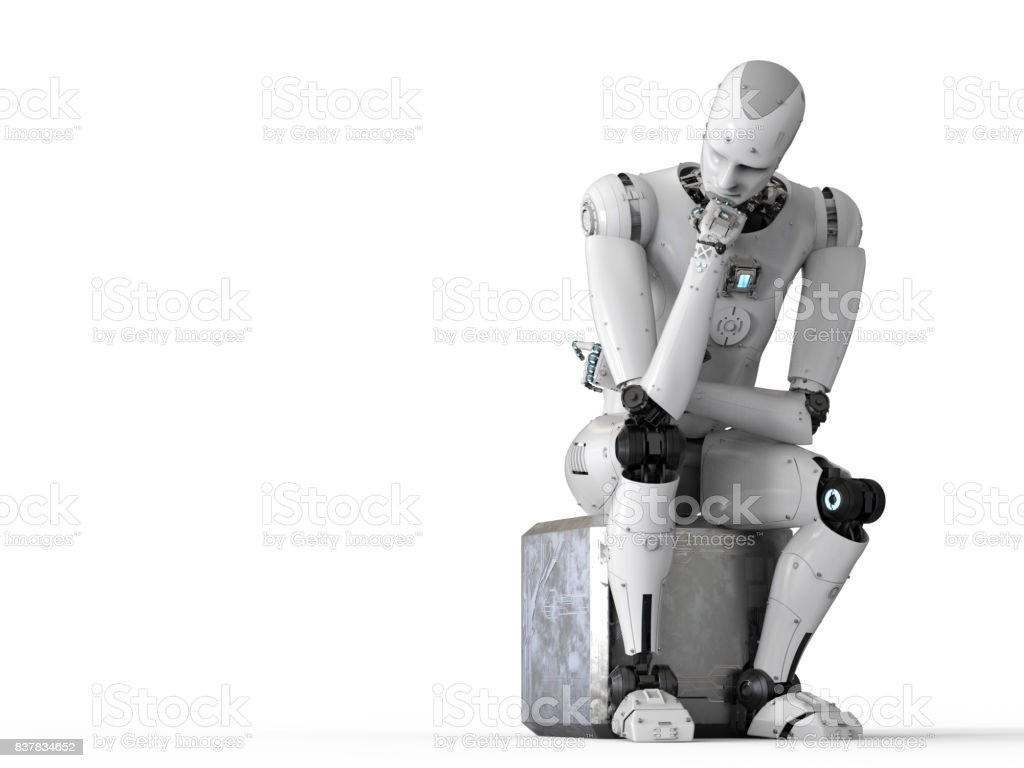 robot sit down and thinking stock photo