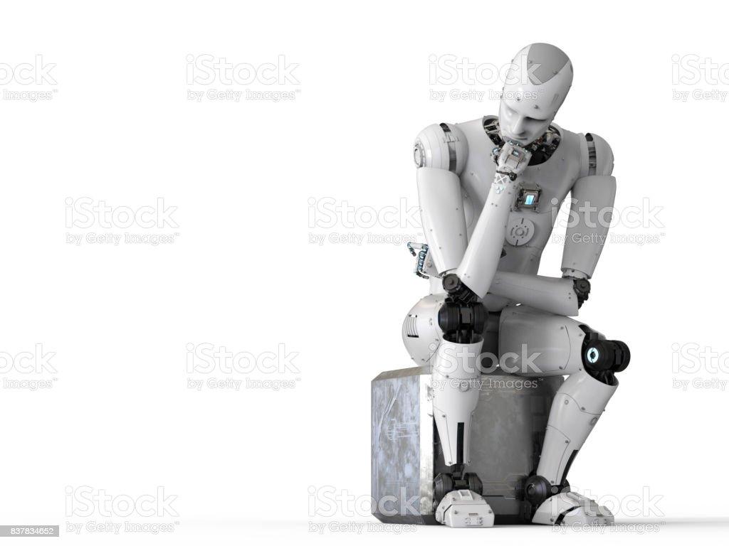 Sente-se do robô para baixo e pensando - foto de acervo