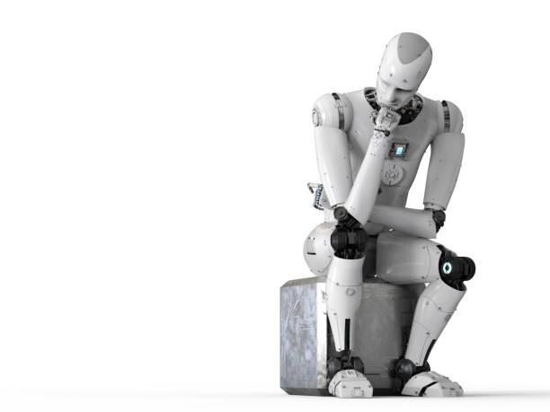 ロボット座って思考 ストックフォト