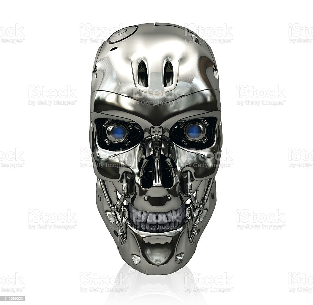 Robot skull with metallic surface and blue glowing eyes smiling – Foto