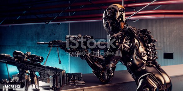 istock Robot sniper 488078143
