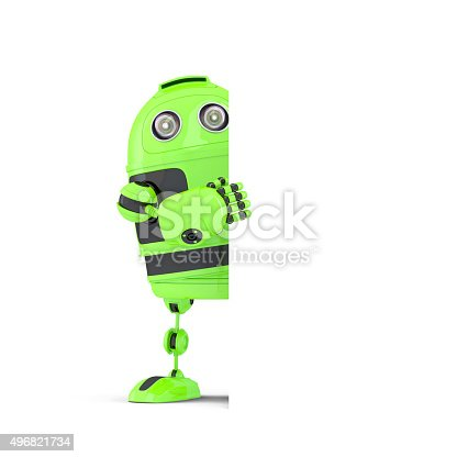 521048154 istock photo Robot standing behind blank banner. Isolated. Contains clipping path 496821734