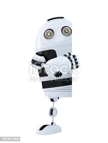 521048154 istock photo Robot standing behind blank banner. Isolated. Contains clipping path 920914606