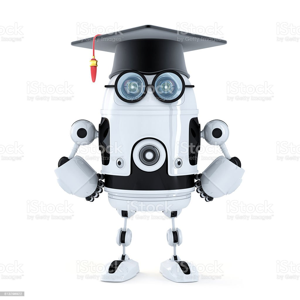 Robot student with mortarboard stock photo