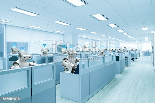 istock Robot team working in the office instead human, Future technology concept 836654628