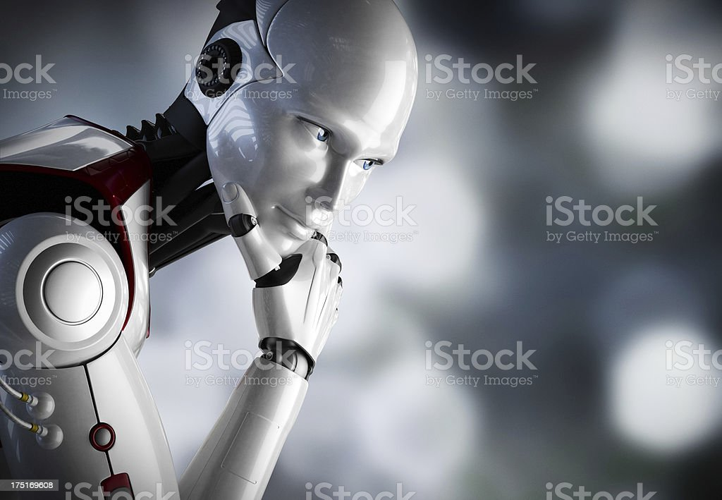 Robot thinking close up stock photo