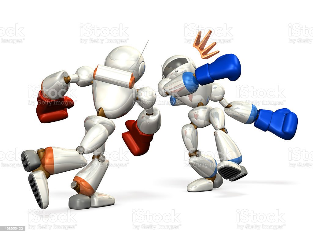 Robot to knock out the enemy stock photo