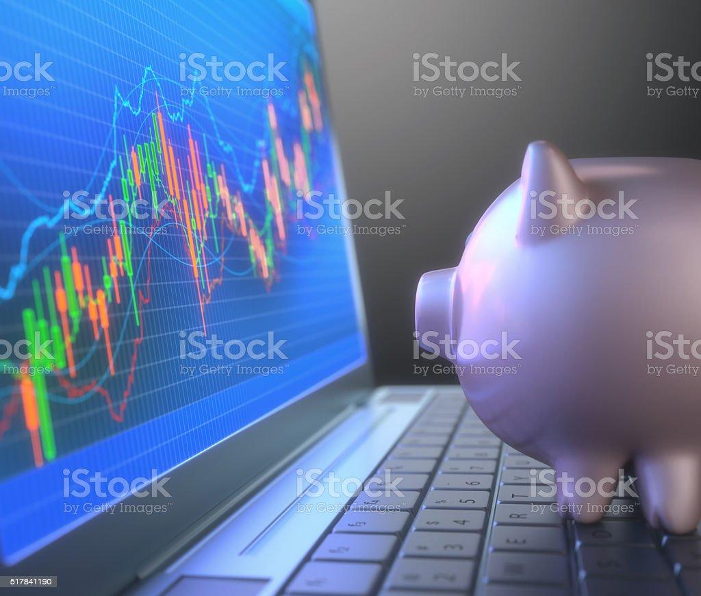 Robô sistema comercial e Porquinho Banco - foto de acervo