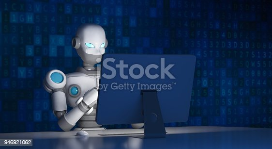 istock Robot using a computer with data code, artificial intelligence in futuristic technology concept, 3d illustration 946921062