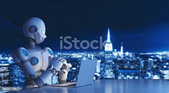 istock Robot using a laptop computer in city, artificial intelligence in futuristic technology concept, 3d illustration 950370822