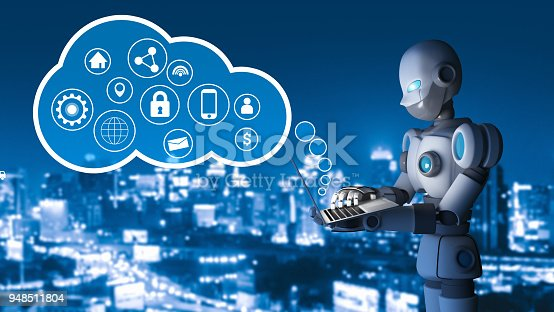 istock Robot using a laptop computer with circle pointers in city, infographic template. artificial intelligence in futuristic technology concept, 3d illustration 948511804