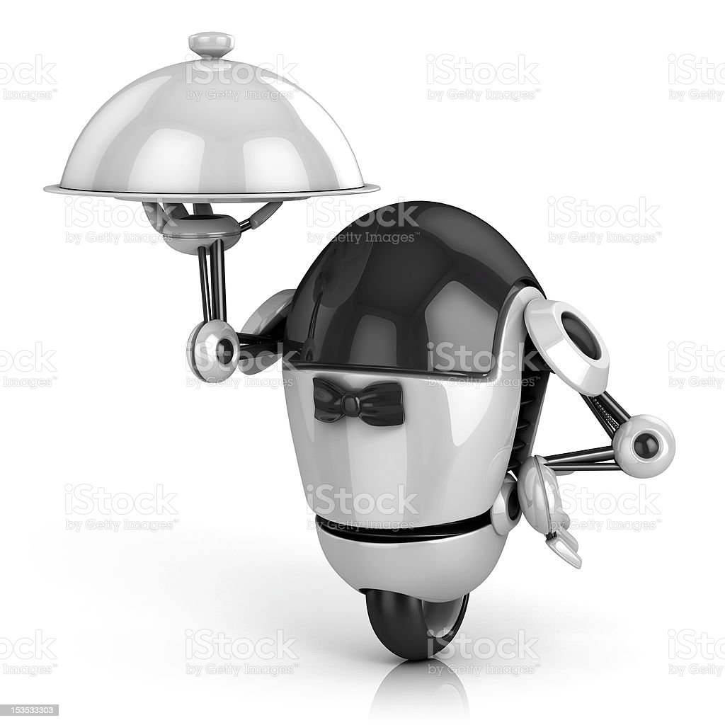 robot waiter 3d illustration stock photo