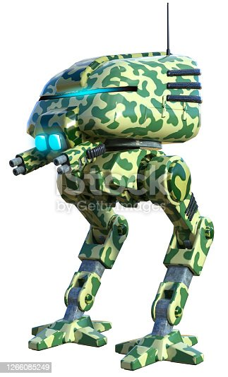Robot Warrior, armed with guns, 3d illustration, yellow and green colors, military security device